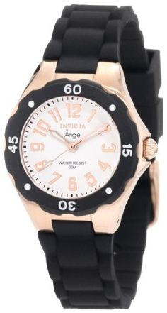 Invicta Women's 1631 Angel Collection Rubber Watch Invicta. $60.00. White Dial with Rose Gold Tone Hands and Arabic Numerals; Black Unidirectional Bezel with White Arabic Numerals. Water-resistant to 30 M (99 feet). Rose Gold Tone Second Hand. Flame-Fusion Crystal; Brushed and Polished Rose Gold Ion-Plated Stainless Steel Case; Black Polyurethane Strap. Swiss Quartz Movement. Save 82%!