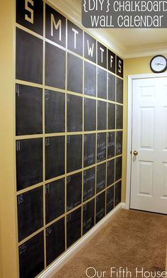 A Wall Sized Chalkboard DIY Calendar - or full chalkboard wall. Very thorough tutorial on how to make this giant calendar. Fyi - it took 3 coats of chalkboard paint. Chalkboard Wall Calendars, Chalkboard Paint, Calendar Wall, Family Calendar, Magnetic Chalkboard, Chalkboard Ideas, Large Chalkboard, Blackboard Wall, Calendar Ideas