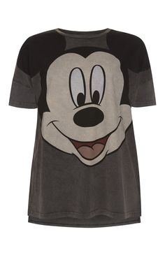 Primark - Grey Mickey Mouse Acid Wash T-Shirt
