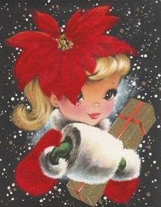 sweet vintage girl christmas card