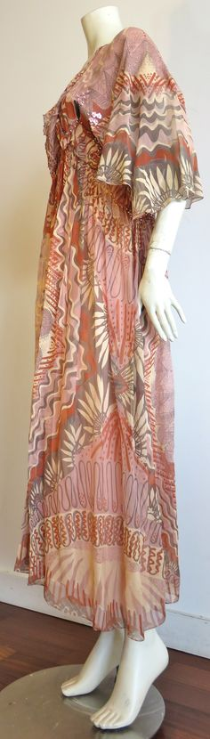 1974 ZANDRA RHODES Ayers Rock Collection silk dress image 10