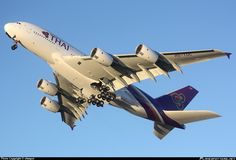 "Thai Airways International Airbus A380-841 HS-TUC ""Chaiya"" during a pre-delivery test flight out of Hamburg-Finkenwerder, November 2012. (Photo: xfwspot / Source: PlanePictures.Net)"