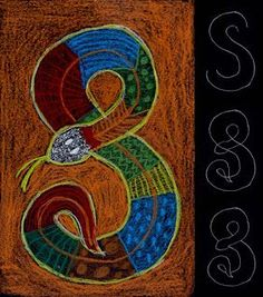 weeks 14-16 Australia Art Projects for Kids: Aboriginal Snake Drawing (use black construction paper and oil pastels)