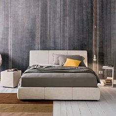 Padded, minimalist 'Dance' bed by Morassutti
