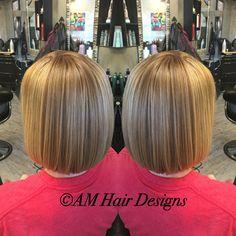 Dimensional copper blonde sleek bob medium thin fine hair  AM Hair Designs at Star Image