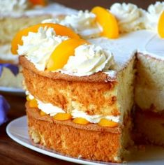 Peaches and cream sponge cake. Soaked with peach syrup and layered with peaches and cream. Bring this delicious cake to any celebration. Desserts For A Crowd, Easy Desserts, Delicious Desserts, Round Cake Pans, Round Cakes, Cake Recipes, Dessert Recipes, Peach Syrup, Canned Peaches