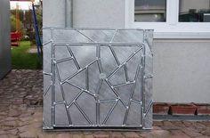 Mülltonnenverkleidung aus verzinktem Stahl mit Schmitzstruktur Outdoor Structures, Galvanized Steel, Privacy Screens, Metal