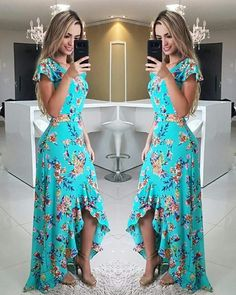 Fırfırlı Elbise Yeşil Uzun Kısa Kollu Asimetrik Kesim Etek Desenli - pionero de la cosmética, alimentación, moda y confección Cute Dresses, Beautiful Dresses, Prom Dresses, Summer Dresses, Ruffle Dress, Dress Skirt, Dress Up, Mode Hippie, Yeezy Outfit
