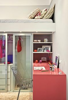 Love this idea for a small, compact bedroom!