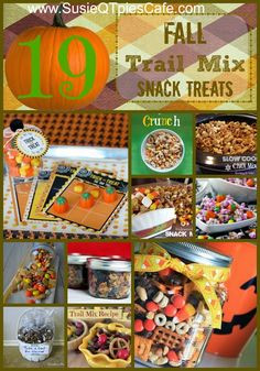 19 Fall Trail Mix Snack Treat Recipes for all your Fall Parties! Such a variety. #fall #harvest #snacks