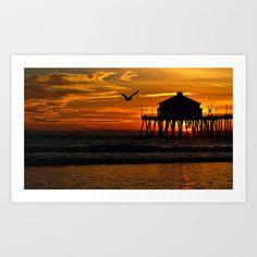 Sunset ~ Huntington Beach Pier CA   Art Print by John Minar - $15.48