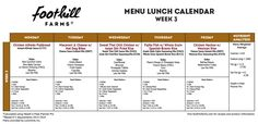 Week 3 Menu Lunch Calendar by Foothill Farms