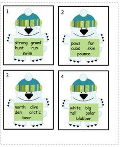 Students have 4 Polar Bear cards with 5 words on each card. They put the 5 words in ABC Order on the Recording Sheet. There are 2 words on each car...