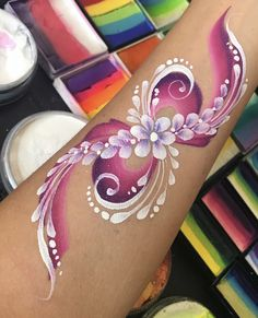 Hawaiian Flower Tattoos, Adult Face Painting, Pregnant Belly Painting, Easter Paintings, Skin Paint, Pregnancy Art, Arm Art, Face Painting Designs, Maquillage Halloween
