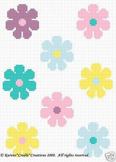 Crochet Patterns -FLOWER POWER Graph Pattern SCRAP YARN #KarensCradleCreations