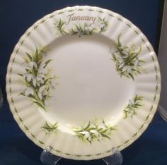 Royal Albert Flower of the Month Salad Plate January Snowdrops Montrose Shape #RoyalAlbert