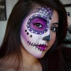 15 To-Die-For Sugar Skull Makeup Looks That Win Halloween - Candy Skull Makeup, Halloween Makeup Sugar Skull, Amazing Halloween Makeup, Halloween Make Up, Candy Skulls, Halloween Dress, Vintage Halloween, Halloween Costumes, Skull Face Paint