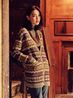 Unst - Knit this ladies longer length cardigan from Rowan Knitting & Crochet Magazine 58, a design by Lisa Richardson using the wonderful combination of two of our Yorkshire yarns Rowan Fine Tweed (wool) and Rowan Tweed (wool.) With an all over fairisle pattern, contrast ribbed edgings and pocket detail, this knitting pattern is suitable for the more experienced knitter.
