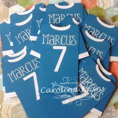 Stampin' Up! Punch Art, Football Soccer Shirt Invitations, Stampin' Up! a creation by Carolina Evans