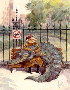 Granny knew she was in trouble when she had to share her park bench with a cold-blooded crocodile.- Peter de Seve illustration