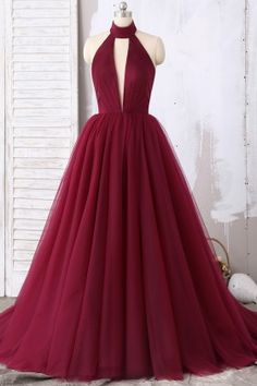 Burgundy Halter Plunging Tulle Ball Gown Prom Dress - Long and Short, Sexy, Two Pieces Prom Dresses on Sale Now – Lunss Source by - Puffy Prom Dresses, Short Red Prom Dresses, Dark Red Dresses, Prom Dresses Two Piece, Short Prom, Tulle Ball Gown, Ball Gowns Prom, Ball Dresses, Prom Dress Stores