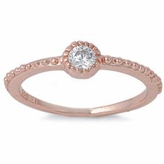 ROSE GOLD WHITE CZ FASHION .925 Sterling Silver Ring SIZES 4-11