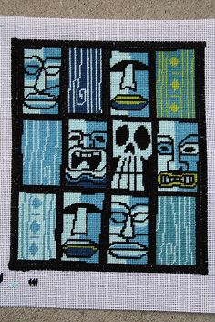 Tiki needlepoint by Green Couch Designs