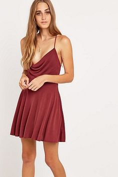Amie Cowl Front Red Dress - Urban Outfitters
