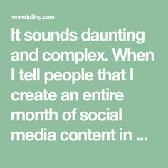 """It sounds daunting and complex. When I tell people that I create an entire month of social media content in one day, I usually get one of two responses:• The """"Yeah right"""" eye roll OR• The """"Really? Tell me how!"""" question.Creating a month of social media posts in one day isn't daunting or…"""
