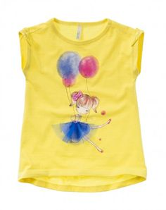 T-shirt with bows yellow Benetton