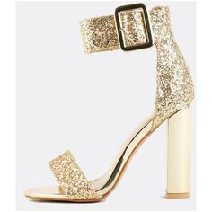 Glitter Ankle Strap Chunky Heels GOLD ($33) ❤ liked on Polyvore featuring shoes, gold, high heeled footwear, chunky shoes, glitter shoes, wide high heel shoes and thick high heel shoes