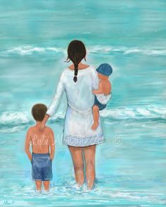 "Mother Son Daughter Art Print Family Beach Art  Mother Kids Children Art Beach Theme Ocean ""A Lovely Beach Day"" Leslie Allen Fine Art"