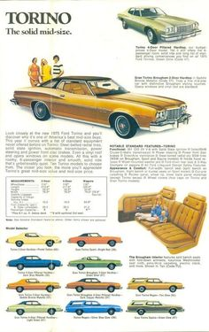 """When was the last time you thought of a 1975 Torino as """"mid-sized""""? Ford Motor Company, Vintage Advertisements, Vintage Ads, Turin, Muscle Cars, Classic Cars Usa, Ford Torino, Ad Car, Car Advertising"""