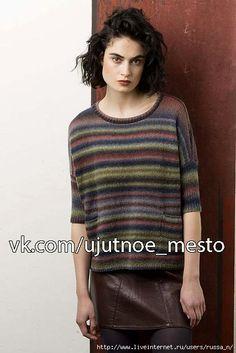 Пуловер спицами из секционной пряжи