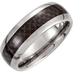 Tungsten 8.3mm Domed Band with Carbon Fiber Inlay Size 11