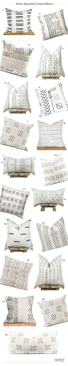 white african mudcloth tribal pillows product roundup, white mudcloth, modern tribal