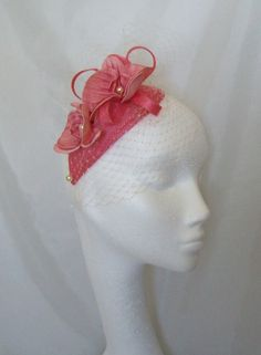Coral & Cream Teardrop Veil & Orchid Charlotte Vintage Style Fascinator Mini Hat,  Order Now from www.indigodaisyweddings.co.uk Specialising in stunning bespoke cocktail fascinators and formal hats in a wide range of colours, perfect for Royal Ascot and The Kentucky Derby. Plus all your wedding floral accessories including shoe clips, vintage flapper bands, feather and flower fascinators, feather fans, fairy wands, wrist corsages, wedding bouquets & buttonholes. Worldwide Delivery.