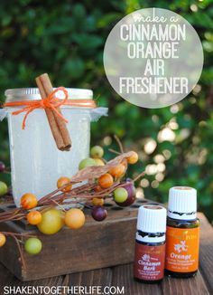 DIY Autumn Cinnamon Orange Air Freshener Easy to make using essential oils - fill your home with the wonderful fragrance of cinnamon orange without the chemicals of commercial air fresheners - makes a...