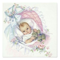 Adorable ivory and pink vintage baby girl shower invitation. This sweet pink pastel color vintage baby in bassinet baby shower invitation is easily customized for your event by adding your event details, font style, font size & color, and wording. Clipart Baby, Vintage Baby Boys, Vintage Children, Vintage Pink, Vintage Baby Pictures, Baby Clip Art, Baby Art, Decoupage, Baby Illustration