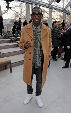 4555c3bc626 Tinie Tempah wearing Burberry at the Burberry Prorsum womenswear autumn  winter 2013 show