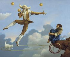 Magic Fantasy : Michael Parkes Magic Realism Art - The Juggler 1981 - Michael Parkes Magic Realism Paintings 4 Realism Painting, Surreal Art, Painting Illustration, Fantasy Art, Painting, Realism Art, Magic Realism, Park Art, Unusual Art