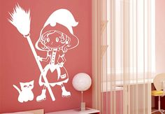 Little Witch Wall Sticker. Let the little girl with malignant supernatural powers on your wall decals flabbergast your little kids. These fun filled wall arts perfectly accents decors in your kids playroom. http://walliv.com/little-witch-wall-sticker-art-decal