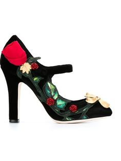 Dolce & Gabbana rose appliqué Mary Jane pumps