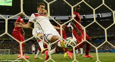 Miroslav Klose scores his 15th international goal at World Cups for Germany to make it 2-2