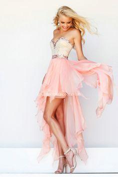 New Arrival Short Front Back Long Sweetheart Sleeveless Heavy Beaded Cheap Chiffon Prom Dress