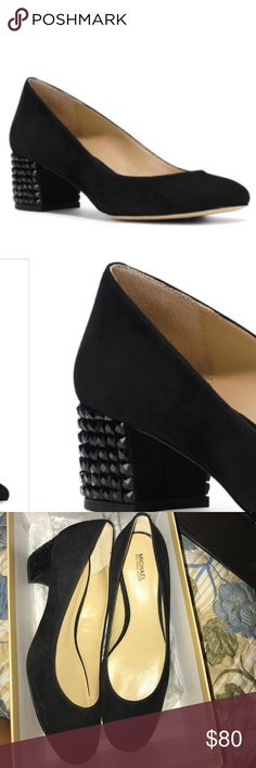 🖤NWT MICHAEL🖤ARABELLA KITTEN PUMP🖤 Elevate any ensemble with these trend-savvy pumps. The stone-wrapped heel and comfortable round toe ensure both style and comfort. Suede. You can pair these with your favorite dress for a super chic look.Never worn. STILL SELLING IN STORES (Neiman Marcus) 2-in. heel Slip-on Round toe Padded insole STONE-WRAPPED MICHAEL Michael Kors Shoes Heels
