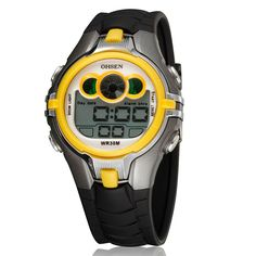 GOHUOS Mens Sport Digital Watch Multi-function LED Week Alarm Chronograph Wrist watch-Yellow ** You can get more details by clicking on the image.