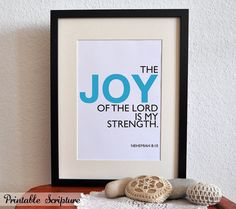 Nehemiah 8:10. Printable Christian Poster. Joy of the Lord is my Strength. 8x10in. Bible Verse.. $5.00, via Etsy.