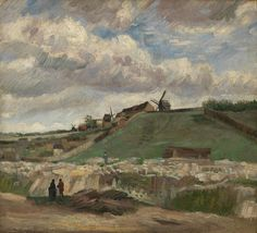 In Van Gogh's day the hill of Montmartre had buildings only on one side.  Here, Van Gogh painted the other side. . The Hill of Montmartre with Stone Quarry (1886) #VanGoghMuseum #VanGogh #Museum #Art #VincentVanGogh #Amsterdam #Paris #Montmarte #Peace #Painting #Hill #landscape