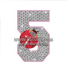 Trendy Spotted Number 5 Hotfix Rhinestone Transfer
